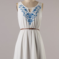 Aim to Please Embroidered Dress - White