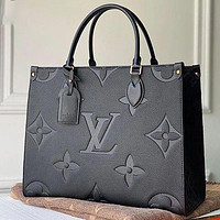 LV Louis Vuitton Pure Black Pattern Tote Bag Fashion Ladies One Shoulder Messenger Bag