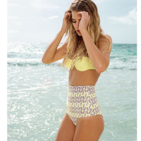 High Waist Vintage Print Halter Neck Bikini Set