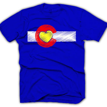Colorado Flag Shirt - HEART LOGO - I Love Colorado - Colorado Shirt