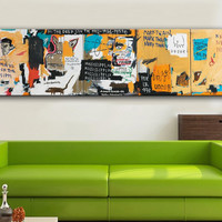 2016 Cuadros Fallout Painting Huge for Graffiti Art Print Jean Michel Basquiat Undiscovered Genius for Home Decoration
