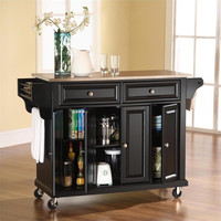 Stainless Steel Top Kitchen Island / Cart in Black with Locking Casters