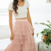 Rosa Tulle Tiered Midi Skirt