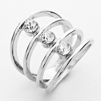 Clear Rhodium Tunnel Ring Size 8