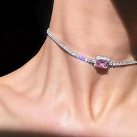 Star Luxury Crystal Simple Choker Necklace for Women Pink Collana Bijoux Collares Jewelry Gift