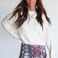 Smiling Through Cream Chenille Crop Sweater