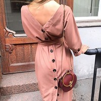 New Pink Buttons Bow Sashes Long Sleeve Sweet Going out Maxi Dress