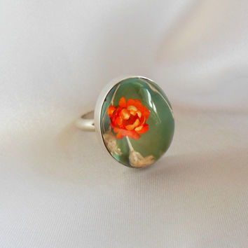 Sterling Silver Ring Resin Flower Dome Size 7 -7.5