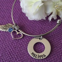 Memorial Jewelry Bracelet  - Remembrance Jewelry - Sympathy Gift - Angel Wing Bracelet - Expandable Bracelet - in Memory