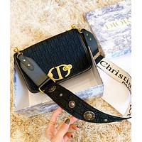 DIOR Fashion New More Letter Leather Shopping Leisure Shoulder Bag Women Black