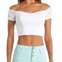 Off-the-Shoulder Lace Crop Top by Charlotte Russe - White