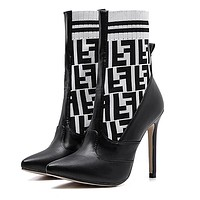 "Hot Sale ""FENDI"" Autumn Winter Popular Woman Knit Socks Boots Pointed High-Heeled Shoes White/Black"
