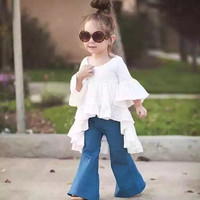 2016 Newest Mommy And Me Spring Dress  Baby Girls Fairy Style Wrinkle Ruffles Cotton Summer Toddler Casual Kids Everyday  Dress
