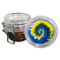 Airtight Stash Jar with Silicone Seal - Peace, Love and Tie Dye #1 - Food-Grade Plastic with Locking Wire Top - Smell Proof Hermes Container