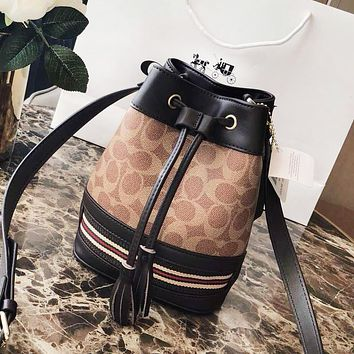 COACH New Fashion High Quality Pattern Print Leather Shoulder Bag Bucket Bag Women
