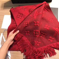 LV Louis Vuitton autumn and winter style brand plush double-sided scarf red