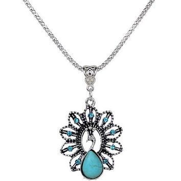 Bohemia Vintage Peacock Turquoise Necklace Delicate Carved Hollow Jewelry