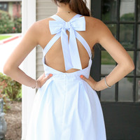 Open Back Bow Seersucker Dress - Blue