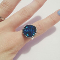 Dark Blue Druzy Stone Adjustable Silver and Black Ring