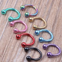 1 Pieces Anodized Circular Barbell Horseshoe CBB Septum Rings Eyebrow Ring Nose Ring Labret Stud Body Piercing Jewelry