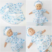 """CABBAGE PATCH DOLL Clothes, Cabbage Patch 14 inch Doll Clothes or 15"""" bitty baby doll clothes- blue floral skirt, blouse, and hat"""