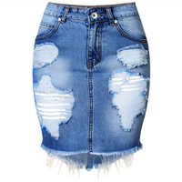 Mini Denim Skirt Women  Summer Casual Split High Waist Short Jeans Skirt Irregular Sexy Pencil Skirts Womens Jupe Faldas