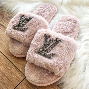Louis Vuitton LV classic hot sale diamond letter plush slippers sandals Shoes