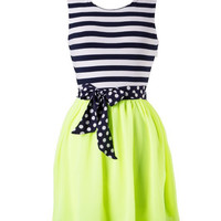Sweet Stripes Dress - Lime