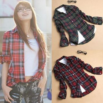 Plaid Women's Fashion Cotton Plus Size Shirt [10985315975]