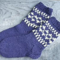 Knit wool short socks for women, hand knit socks, wool socks, Handmade Knitted Wool Socks, purple yellow