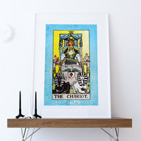 Tarot Print The Chariot Retro Illustration Art Rider Print Vintage Giclee on Cotton Canvas or Paper Canvas Poster Wall Decor