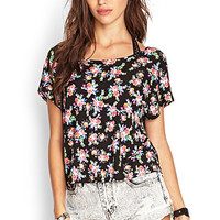 FOREVER 21 Cutout Floral Tee Black/Mint