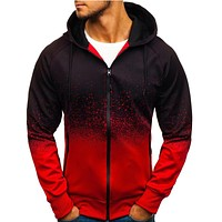 Fashion Men Print Sweatshirt Hooded Jackets Sportswear
