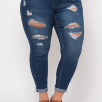 Plus Size Ripped Push Up Jean - Medium Wash