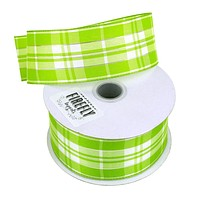 Plaid Checkered Holiday Christmas Ribbon Wired Edge, 1-1/2-Inch, 10 Yards, Apple Green