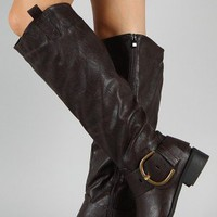 Tobin-1 Buckle Round Toe Riding Knee High Boot