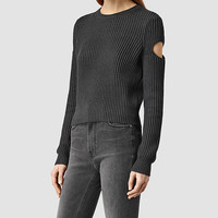 ALLSAINTS US: Womens Ria Cropped Sweater (COAL BLACK)