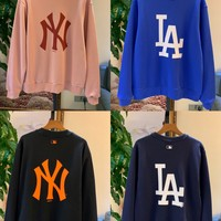"""New York Yankees"" Unisex Solid Color All-match Big Logo Stripe Fashion Letter Logo Embroidery Long Sleeve Sweater Tops"