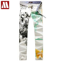 Men's printed slim straight jeans, Latest design fashion leisure Cotton jeans, Best scrawl White jeans for Men