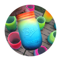 Summer Neon Hand Painted Mason Jar Beach Inspired Cottage Chic Boho Chic Shabby Chic Spring Bright Colors
