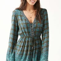 Ecote Helena Turquoise Floral Button-Down Playsuit - Urban Outfitters