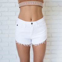 Cut Off High Waist White Shorts