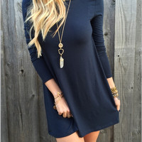 V Back Long Sleeve Dress Shirt