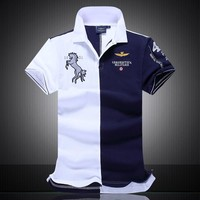 New 2017 air force one Top Quality boutique embroidery Men Shirts Brand POLO Men diamond Fashion shark Camisas Masculinas
