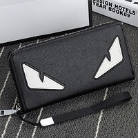 Fendi New Fashion Eye Women Men Leather Long Section Wallet