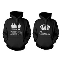 King and Queen Crown Couple Hoodies Cute Matching Outfit for Couples