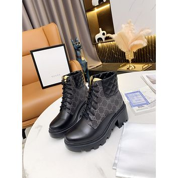 GUCCI2021 Trending Women's men Leather Side Zip Lace-up Ankle Boots Shoes High Boots09010xf