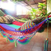 Tri Colors Red Green Purple, Double Hammock hand-woven Natural Cotton Special Fringe