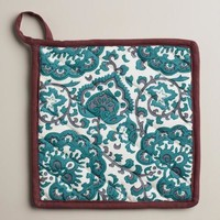 Indigo Blue Floral Baroque Potholders, Set of 2