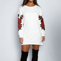 Woman's Vintage Embroidery Long Sleeve Shirt or Mini Dress